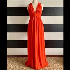 Forcast Chiffon Halter Maxi Dress Coral Size 12
